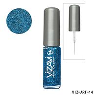 Лак для рисования с тонкой кисточкой Vizavi ярко-синий с микроблестками