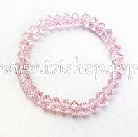 Браслет из чешского стекла, цвет розовый (гибкий браслет)