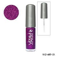 Лак для рисования с тонкой кисточкой Vizavi сиреневый с микроблестками