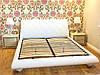 """Дизайнерська двоспальне ліжко """"Snow"""" з м'яким узголів'ям прошитим ромбами на дерев'яних ніжках """"цибулька"""""""