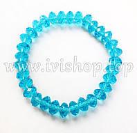 Браслет из чешского стекла, цвет голубой (гибкий браслет)
