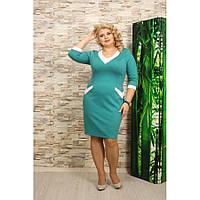 Женское Красивое платье Вероника цвет бирюза размер 56