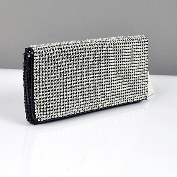851b09bf7ddc Клатч из камней женский выпускной вечерний сумка малая черная с белыми  стразами Rose Heart 3211, ...