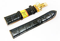 Ремешок кожаный Modeno Spain для наручных часов с застежкой клипсой, черный, 22 мм