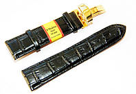 Ремешок кожаный Modeno Spain для наручных часов с застежкой клипсой, черный, 24 мм