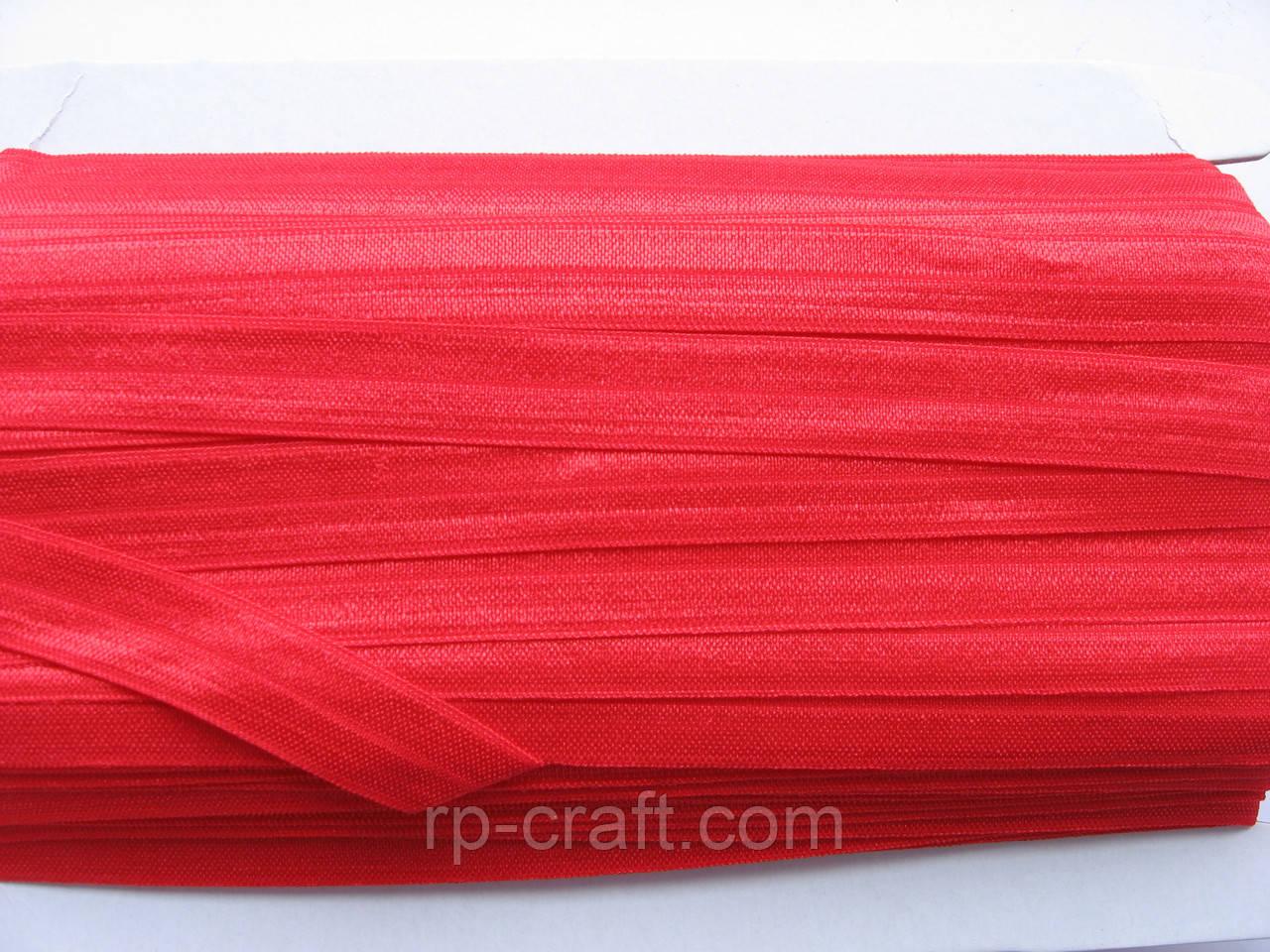 Трикотажная бейка, резинка, 16 мм, красная