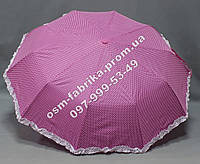 Женский зонтик фиолетовый в горох