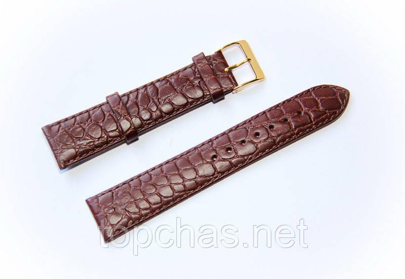 Ремешок кожаный Bandco Genuine Leather для наручных часов с классической застежкой, коричневый, 20 мм