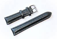 Ремешок кожаный Bandco Genuine Leather для наручных часов с классической застежкой, черный, 20 мм
