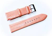 Ремінець шкіряний Bandco Genuine Leather для наручних годинників з класичною застібкою, рожевий, 22 мм