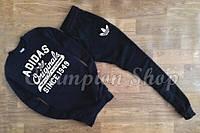 Мужской костюм Adidas черный, манжеты на резинке
