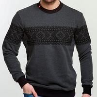 Мужской  серый свитшот с вышивкой