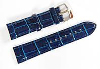 Ремешок кожаный Bros Cvcrro a Mano для наручных часов с классической застежкой, синий, 22 мм