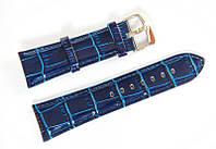 Ремешок кожаный Bros Cvcrro a Mano для наручных часов с классической застежкой, синий, 24 мм