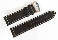Ремешок кожаный Bros Cvcrro a Mano для наручных часов с классической застежкой, черный, 24 мм