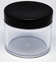 Баночка для геля круглая прозрачная с черной крышкой 60 мл YRE ТТМ-15, пустая тара для геля