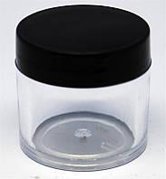 Баночка для геля круглая прозрачная с черной крышкой 30 мл YRE TTM-18, пустые баночки для гелей