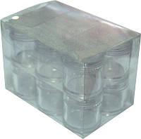 Баночки-закрутки круглые 12 мл в упаковке 12 шт YRE TTM-16, баночки-закрутки для мастера маникюра
