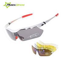Спортивные поляризационные очки «RockBros Polarized» с 5-ти сменными линзами и защитой UV400 Белый