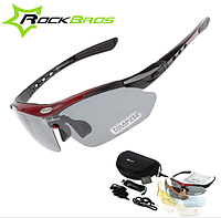 Поляризационные очки для рыбалки с 5-ти линзами и защитой UV400 Чёрно-красный