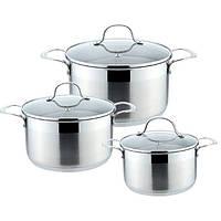 Набор кухонной посуды из нержавеющей стали 6 предметов (3 кастрюли) Maestro MR-3505-6M