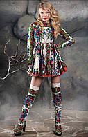 Платье  солнце из платка в стиле Матрешка с кружевом