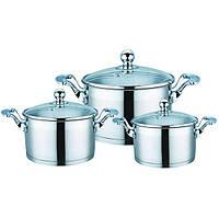 Набор кухонной посуды из нержавеющей стали 6 предметов (3 кастрюли) Maestro MR-3506-6