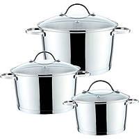 Набор кухонной посуды из нержавеющей стали 6 предметов (3 кастрюли) Maestro MR-3508-6M