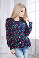 Рубашка женская из креп шифона с вишенками P1739
