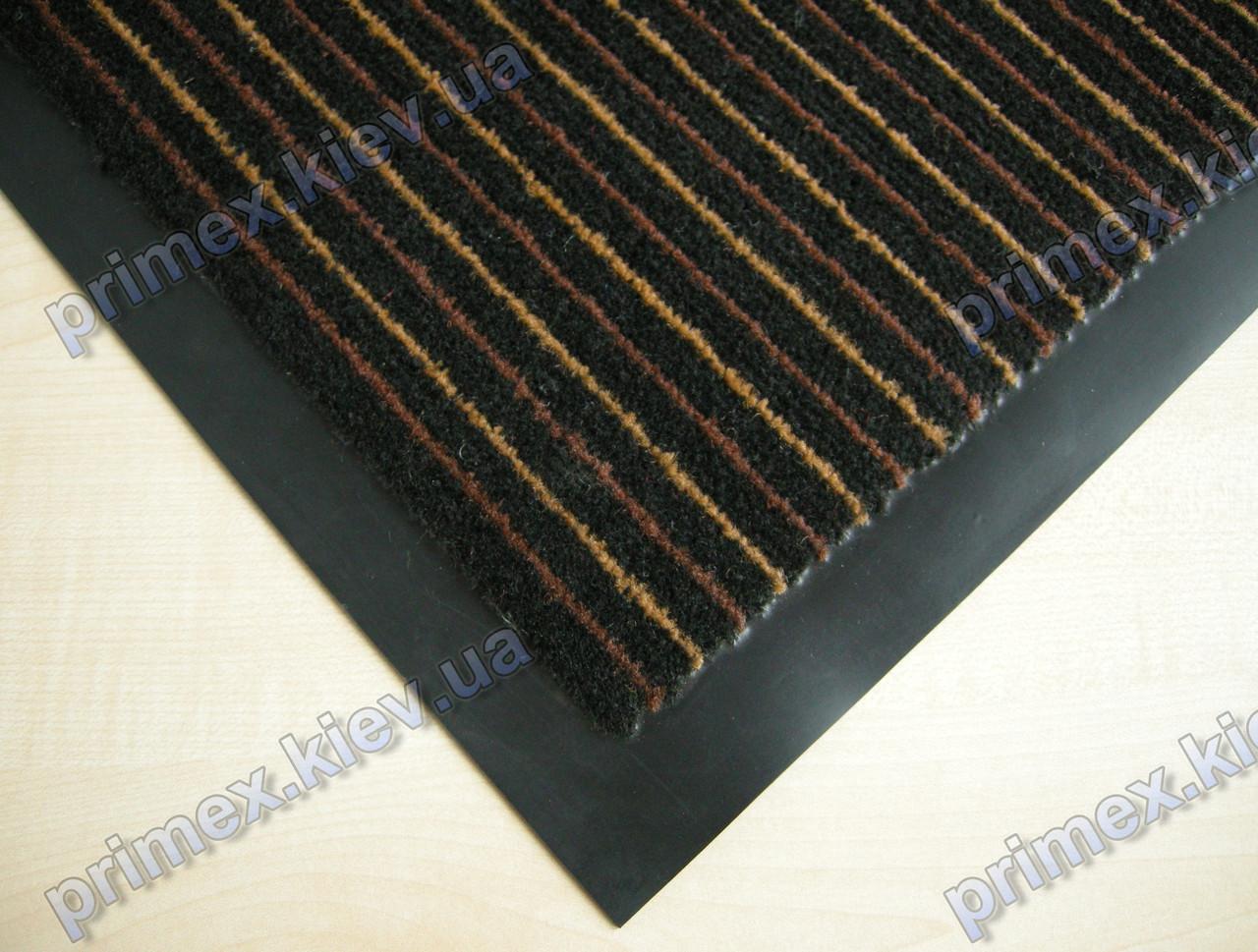 Коврик грязезащитный Полоска Два цвета, 90х150см., коричневый с бежевым