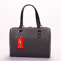 Серая классическая сумка женская матовая №1342g