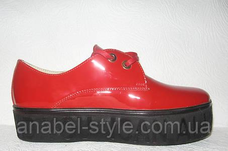 Лоферы женские стильные лаковая кожа красные , фото 2