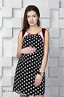 Сарафан для беременных Cameron, черный с светло-молочным горохом