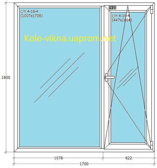 Металлопластиковое окно в Буче Гостомеле Ворзеле Ирпене из профиля WDS, Фурнитура Siegenia