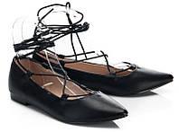 Балетки стильные черного цвета