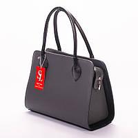Серая прямоугольная сумка дамская деловая женская №1346g