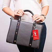 Прямоугольная женская сумочка серая каркасная №1345g