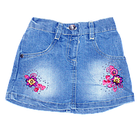 Детская джинсовая юбка  с вышивкой, короткая, Турция, ТМ Ромашка, р. 80, 86, 92