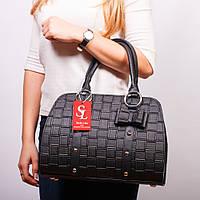 Черная каркасная сумка женская деловая №1338st