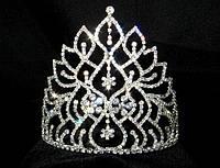 Диадема корона высокая на металлическом обруче, высота 14 см