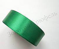 "Атласная лента для декора ""Зеленый электрик"" h-2.5см"