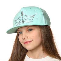 Стильная летняя кепка с прямым козырьком для девочки.Хлопок.