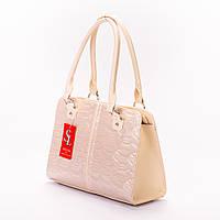 Бежевая женская сумка-портфель лак №1336beg