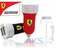 Зарядное Ferrari 2-USB Car Charger 2.1A with Apple Connector 30-pin/Lightning Red (FERUCC2UPRE)