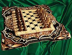 Шахматы - нарды в резьбе подарочные