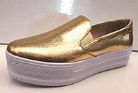 Слипоны женские Украина кожаные серебряные золотые Uk0031