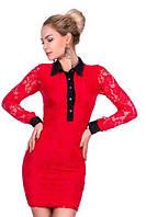 Гипюровое облегающее женское платье мини с контрастным рубашечным воротничком и манжетами рукав длинный