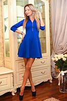 Пышное женское платье на молнии с воротником стойка рукав три четверти дайвинг