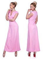 Длинное женское платье расклешенной к низу с глубоким фигурным вырезом рукав короткий дайвинг