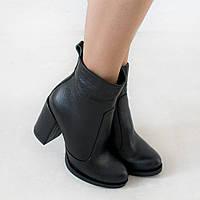 Ботинки женские из натуральной кожи 39 размер Woman's heel черные на широком каблуке